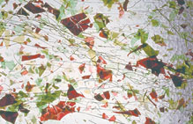"Uroboros  Textural and Specialty Sheet Glass - Clear with Green/Red Fracture, Green Streamers - 24"" x 24"" x 1/8""(3mm) thick"