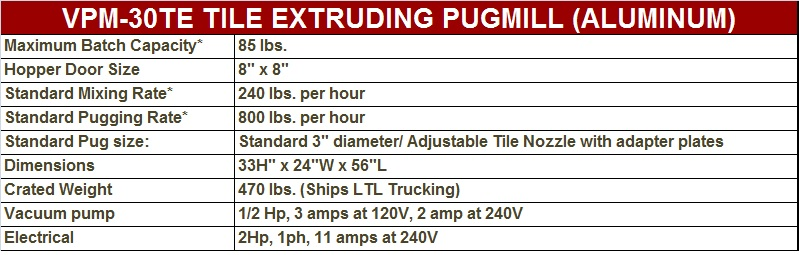 Peter Pugger VPM-30TE Tile Extruder
